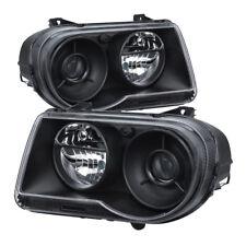 Chrysler 05-10 300C Black Housing Replacement Headlights Lamp C Sedan