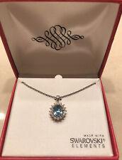 New ListingNew Swarovski 16.5� Aquamarine Crystal Round Pendant Necklace Original Box