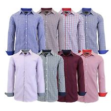 32e98fabd Mens Long Sleeve Slim-Fit Dress Shirts Pinstripe Checkered Gingham  Patterned NEW