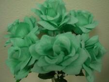"2 Bushes AQUA GREEN Open Rose 7 Artificial Silk Flowers 15"" Bouquet 039AQ"