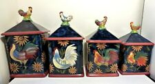 CERTIFIED INTERNATIONAL SUSAN WINGET ROOSTERS & SUNFLOWERS CANISTER SET OF 4