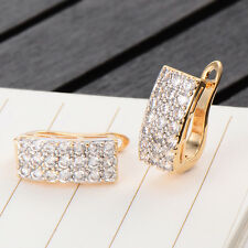 Fashion Womens Yellow Gold Filled Clear Crystal Huggie Hoop Earring Jewelry