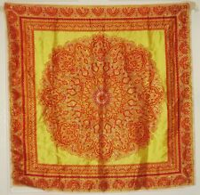 """TERRIART Yellow, Rust, Taupe Paisleys 26"""" Square Scarf-Vintage"""