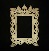 """19c Art Nouveau Picture Frame Calla Lilies Antique Victorian Metal 4 1/4"""" x 6"""""""