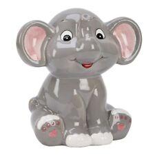 "Grey Elephant Bank 5.5"" x 5.5"" Ceramic Safe"