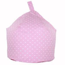 Pink White Polka Dot Large Cotton Childrens Beanbag Bean Bag Seat Chair Filled
