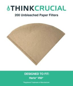 200 Replacements Unbleached Natural Brown Paper Hario V60 Coffee Filters