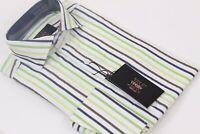NWT- Verse 9 British Spread Collar & French Cuff- Lime Multi Stripe Dress Shirt