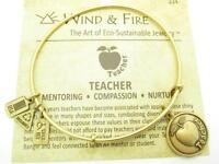 Wind and Fire Teacher Charm Gold Wire Bangle Stackable Bracelet Made In USA Gift