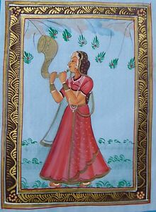ASIAN INDIAN PAINTING ON FINE HANDMADE WATERCOLOR ART OF LADY MUSICIAN ON SILK