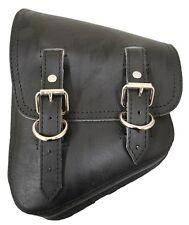 D Leather Softail Saddlebag - Black Vinyl Harley Bobber Custom Left Swing Bag