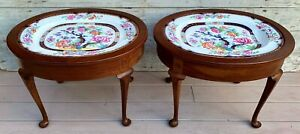 Antique Pair of 19th c. T.C. Brown-Westhead, Moore Co. Porcelain Tray Tables