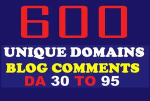 600 Unique Domains Blog Comments backlinks on DA 30 to 90 SEO Marketing Adult