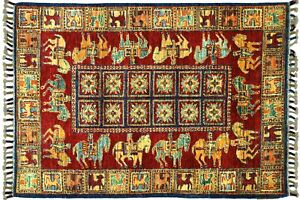 Afghan Ziegler Khorjin Horses Carpet Hand Knotted 80x130 Red Animals Wool