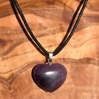 """Amethyst Crystal Heart Pendant 25mm with 20"""" Black Cord Necklace Love Meditation"""