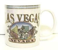 Las Vegas Cup Mug White Gold Iridescent Lusterware Vintage EUC