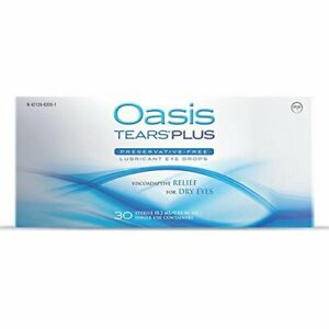 65 Vials Oasis TEARS PLUS Preservative-Free Lubricant Eye Drops (2 boxes, 30...