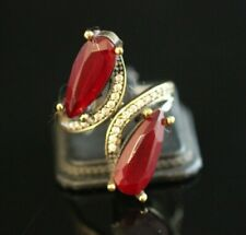 Turkish Handmade Jewelry Sterling Silver 925 Ruby Ring Size Adjustable
