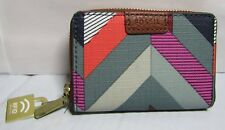 FOSSIL MINI ZIP WALLET CHEVRON BLUE WITH RFID