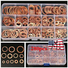 280pcs Assorted Solid Copper Crush Washers Seal Flat Ring Hydraulic Fittings Set photo