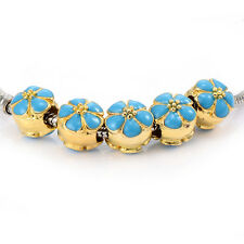 Gold Filled Charm Flower  Beads European Fit bracelet 10pcs Child free shipping