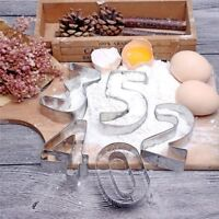 9Pcs Number Stainless Steel Cookie Biscuit Cutter Set Mould Mold DIY Baking Tool