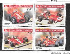 Bosnia & Herzegovina (MUSLIM ADM) Sc 391 NH BLOCK OF 4 OF 2001 - RACE CARS