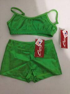 Child Capezio Dance Bra Top Boy Cut Shorts Set Metallic Lime Green Intermediate