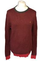 FARAH Men's Casual Jumper Burgundy Red 100% Cotton Large Hole