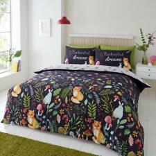 Enchanted Dreams Floral Fox Rabbit Duvet Quilt Cover & Pillow Case Bedding Set