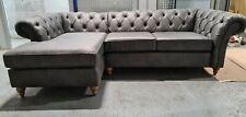 Next Gosford Corner Chaise LHF (4 seats) Monza Faux Leather Grey RRP £2250