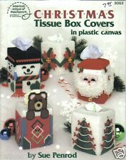 Christmas Tissue Box Covers  ~  plastic canvas soft cover book ~ ASN