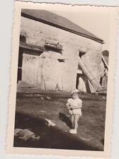 PHOTO VINTAGE PETIT GARCON 1957/COUR DE FERME/NICHOIR A PIGEONS/SILO/CHIEN