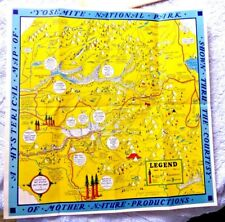 VINTAGE LOVELY CARTOON MAP HYSTERICAL MAP OF YOSEMITE BY LINDGREN 1948