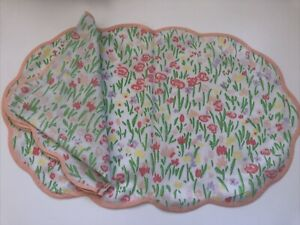Estate Porthault Style Cotton Flowers Multicolor 8Place Mats & 8Napkins 16pc Set