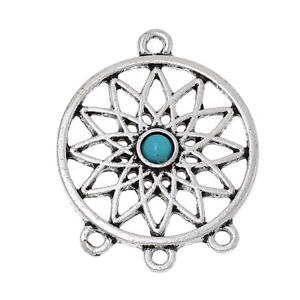 3 x Dream Catcher Connectors Charm Pendant  33mm Silver with turquoise bead