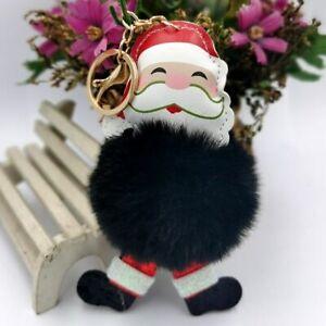 KEY CHAIN CHRISTMAS SANTA CLAUS KEY RING Plush Key chain & Pom Pom Ball