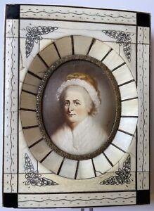 Antique Martha Washington Miniature Portrait Painting 19th Century American