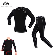 Men's Fleece Base Layer Cycling Long Sleeve Underwear Suit Winter Clothing Set