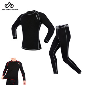 Men's Fleece Base Layer Cycling  Underwear Suit Winter Clothing Set Long Sleeve