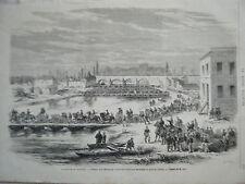 GRAVURE SUR BOIS 19è BATAILLE CHAMPIGNY PASSAGE MARNE ARMEE PARIS GENERAL DUCROT