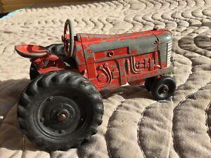 "Tru-Scale Diecast Cast Red Metal Farm Tractor Vtg 5"""