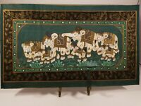 Vintage Silk Painting 7 Elephants Traditional Folk Art. India.Unframed Original