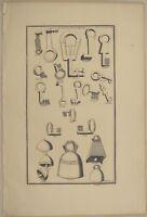 SCHLOSS Schlüssel  Original Kupferstich von 1750 GLOCKEN Klingel Türglocke