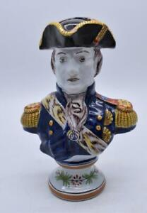 SUPERB FRENCH FAIENCE GENERAL BUST FIGURE - DESVRES FOURMAINTRAUX CORQUIN MARK