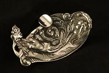 Antique Tobacco Coin Silver .900 Mermaid Galatea Sea Nymph Ashtray Hallmarked