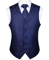 Men's Paisley Plaid Waistcoat Vest Tie Pocket Square Suit Set Fashion Wedding