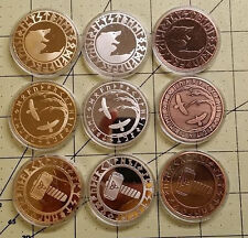 Viking Coin collection x 9 Hammer of Thor Raven Tree of life Norse Odin Valhalla