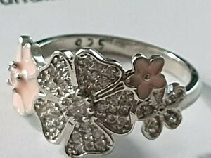 925 Sterling Silver Bouquet Pink Ring. Size P.5