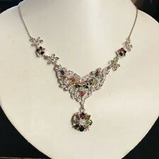 """RARE NATURAL 6x4mm/ NATURAL FANCY COLOR TOURMALINE  STERLING SILVER NECKLACE 18"""""""